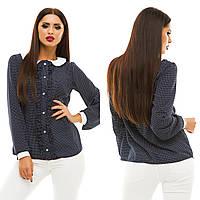 Женская модная блузка с рюшами 133/1 / темно-синяя с белым горохом