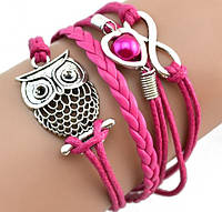 Браслет Infinity сова розовый/бижутерия/материал текстиль, кожа