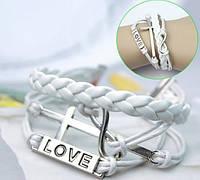 Браслет Infinity вечная любовь белый/бижутерия/цвет белый/материал текстиль, кожа