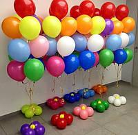 Фонтан из 10-ти гелевых разноцветных шаров