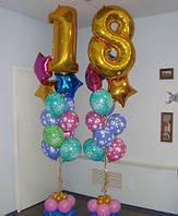 Фонтан из 11-ти гелевых шаров с цифрой