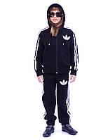 Теплый спортивный костюм детский - три полоски - флис-коттон