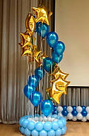 Фонтан из 22-ти гелевых шаров на подставке