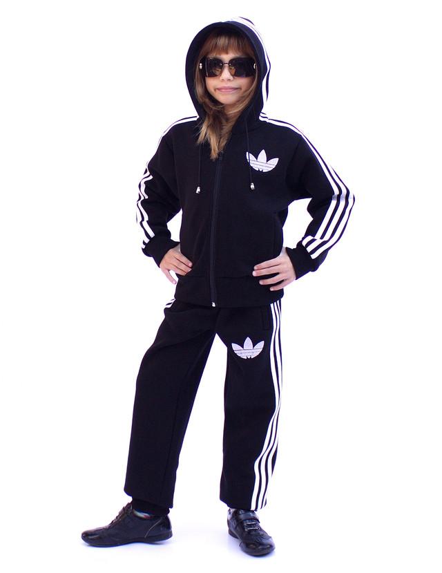Теплый спортивный костюм детский - три полоски - флис-коттон - фото teens.ua