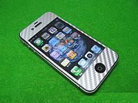 Карбоновая серебристая пленка для Iphone 4 4s, D1