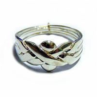 Оригінальне кільце з срібла 925 і бронзи, разбирающееся на 4 частини. Найпопулярніша форма кільця-головолом, фото 1
