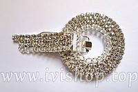 Шубный крючок-застежка 7,0 см, под серебро, круглая, со стразами, с цепочкой