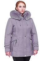 """Зимняя женская куртка """"Мальта"""" больших размеров с мехом"""