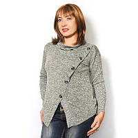 Женская свитер- туника из меланжа, декорированная пуговицами с эффектом вытянутых петель.