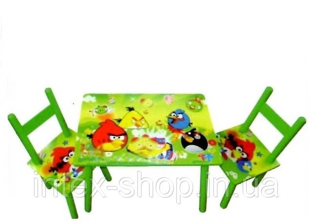 Детский деревянный столик со стульчиками «Angry Birds» D11552