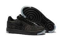 Кроссовки мужские Nike Air Force 1 LOW FLYKNIT - BLACK (в стиле найк форс) черные