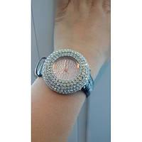 Женские кварцевые часы с кристаллами коричневый ремень