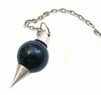 Маятник каменный Черный Агат в алюминиевой оправе (3,5х1,5 см)