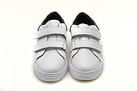 Белые  кроссовки унисекс. Подростковые кроссовки на липучках .