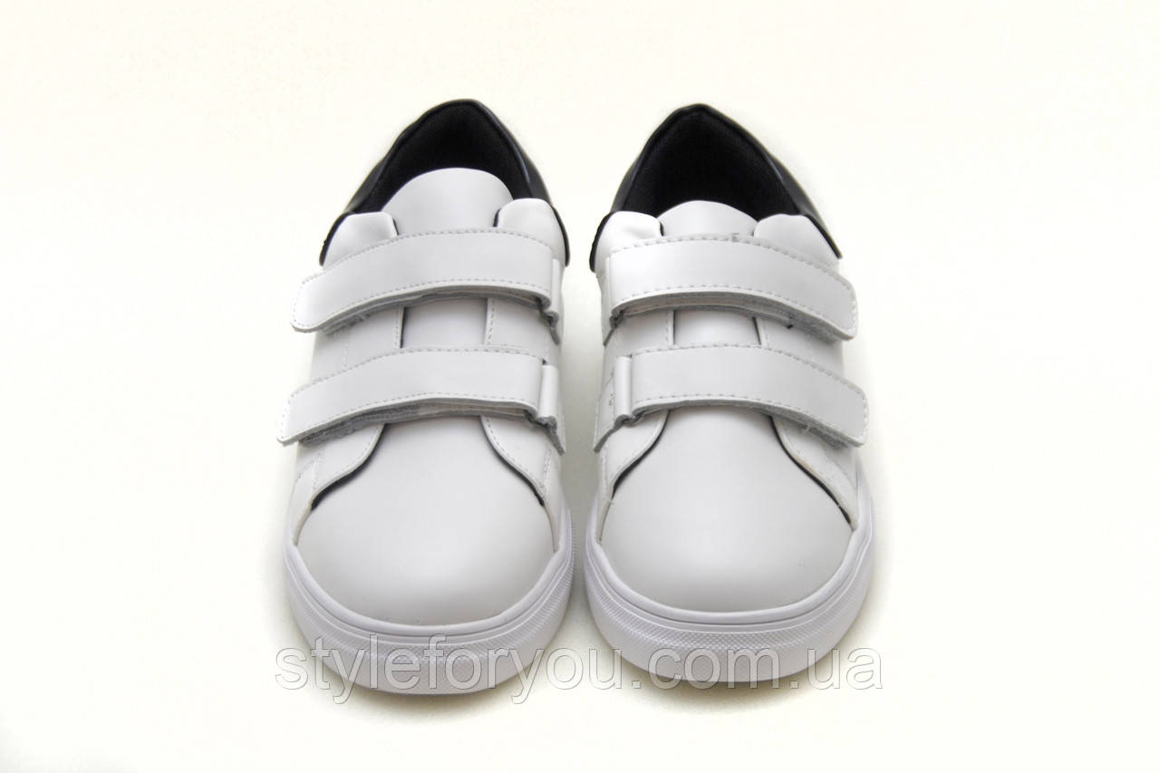 980ce450 Белые кроссовки унисекс. Подростковые кроссовки на липучках р.35(22) - Твой