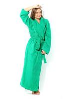 """Халат махровый зеленый """"Премиум"""" шалевый воротник р. 48 50 52 на рост 182 см."""