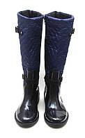 Сапоги женские резиновые  на молнии. Подкладка флис. Синие.