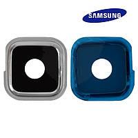 Стекло камеры для Samsung Galaxy S5 G900H, серебристое, оригинал