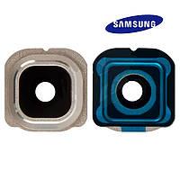 Стекло камеры для Samsung Galaxy S6 EDGE G925F, золотистое, оригинал