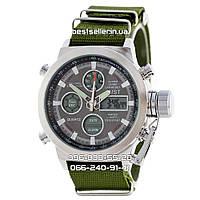 Годинник військові AMST 3003 (Кварц) Silver/Green., фото 1