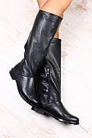 Сапоги женские кожаные черные без каблука со змейкой на низком ходу