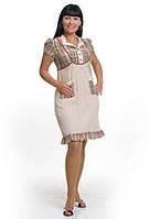 Платье , интернет магазин женской одежды, хлопок, по колено, женское комбинированное ПЛ 001-2.