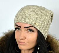Стильная шапка бежевого цвета, фото 1