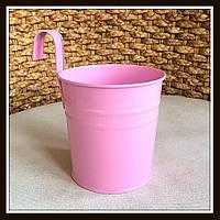 Ведро декоративное навесное (розовое)