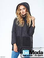 Тёплая куртка Pocket с капюшоном, оригинальными накладными карманами и змейками-разрезами по бокам чёрная