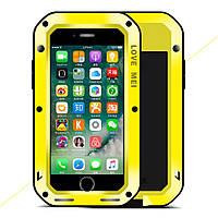 Чехол противоударный Love Mei Gorilla Glass для Apple iPhone 7 4.7 желтый