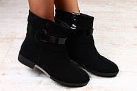 Ботинки замшевые на низком ходу, с черным лакированным ремешком