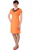 Льняное платье оранжевое с вышивкой трапеция Пл 016.