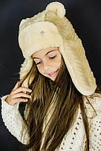 Детская зимняя шапка для девочек МЭЙЗ оптом размер 50-52-54