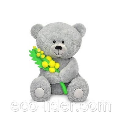 Мягкая игрушка - МЕДВЕЖОНОК МАСИК С МИМОЗОЙ (муз., 17 см)