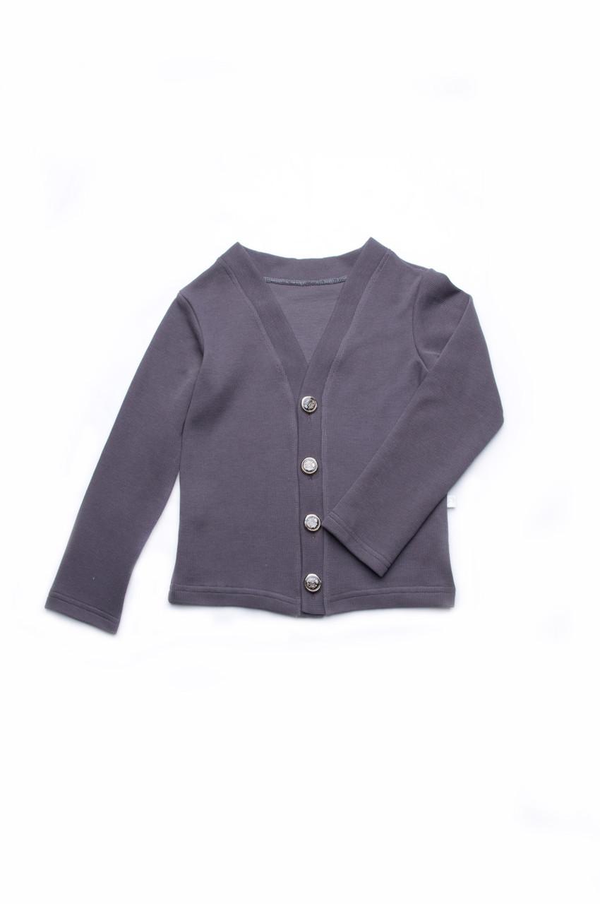 Кофта для девочки на пуговицах детская темно-серый