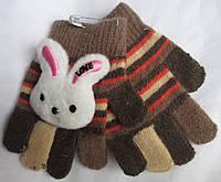 Перчатки детские разноцветики+ зайчик Rubi