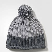 Теплая шапка-бини адидас с помпоном Climawarm Chunky AY7872 серая