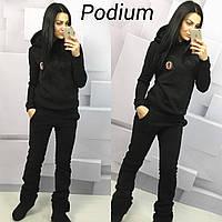 Женский спортивный костюм ткань трехнитка теплый цвет черный, фото 1