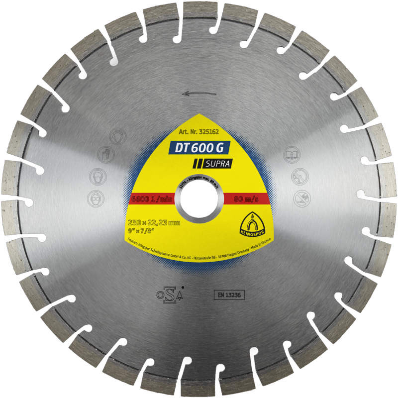 Алмазный отрезной круг Klingspor DT 600 G Supra 125x2,4x22,23/15k/9