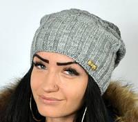 Светло-серая теплая шапка, фото 1