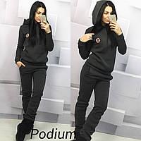 Женский спортивный костюм ткань трехнитка теплый цвет темно-серый, фото 1