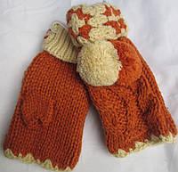 Перчатки-варежки детские помпоны Rubi