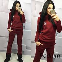 Женский спортивный костюм ткань трехнитка теплый цвет бордовый, фото 1