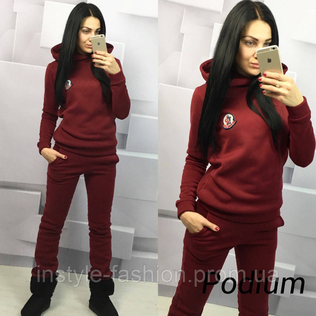 Женский спортивный костюм ткань трехнитка теплый цвет бордовый