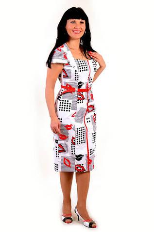 Платье женское «ГУБЫ и ГОРОХИ», Пл 035-1,по колено белое