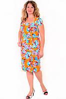 Платье женское с цветочным рисунком , по колено , есть большие размеры,Пл 035-4, 50,52,54,56 , хлопок.