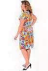 Платье женское с цветочным рисунком , по колено , есть большие размеры,Пл 035-4, 50,52,54,56 , хлопок., фото 2