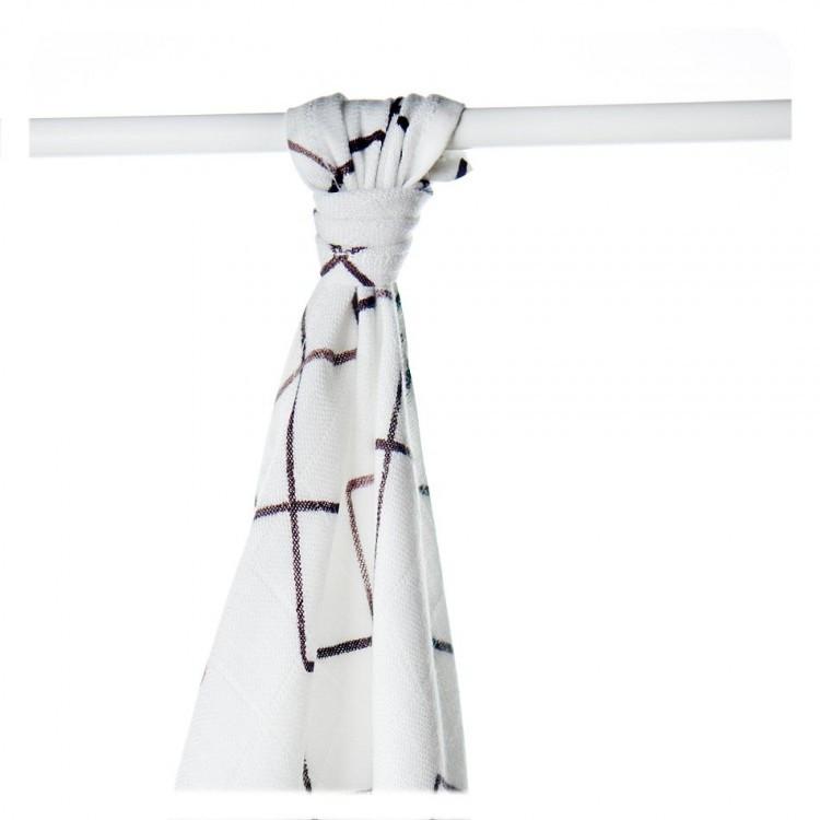Пеленка бамбуковая, муслиновая XKKO 90x100 двухслойная 1 шт. Коричневые квадраты
