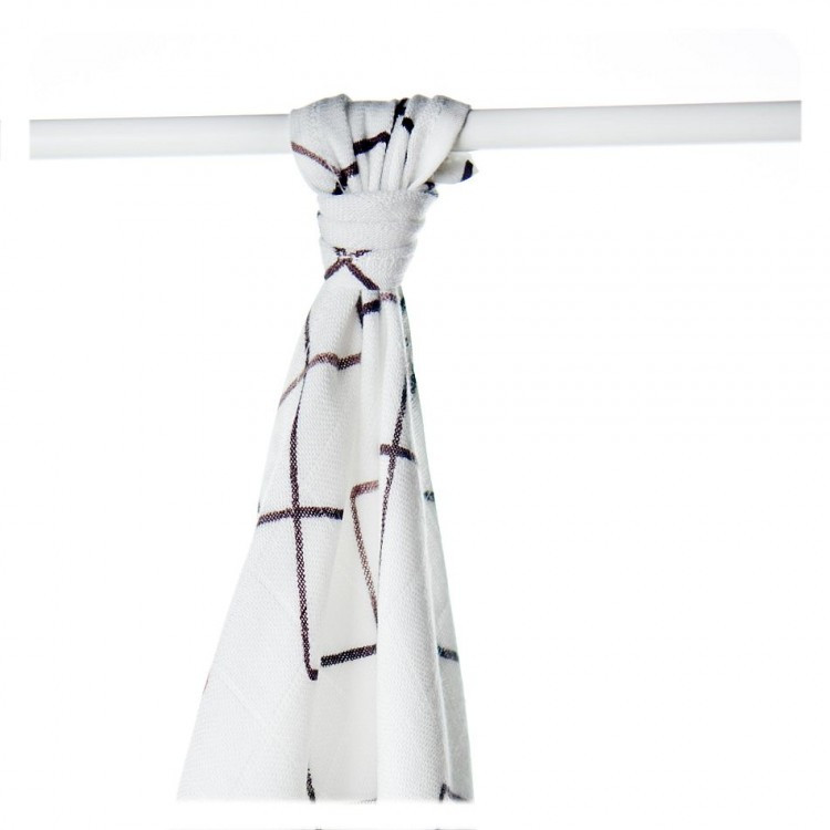 Пеленки бамбуковые  муслиновые XKKO 90x100 двухслойная 1 шт. Белые с коричневыми квадратами