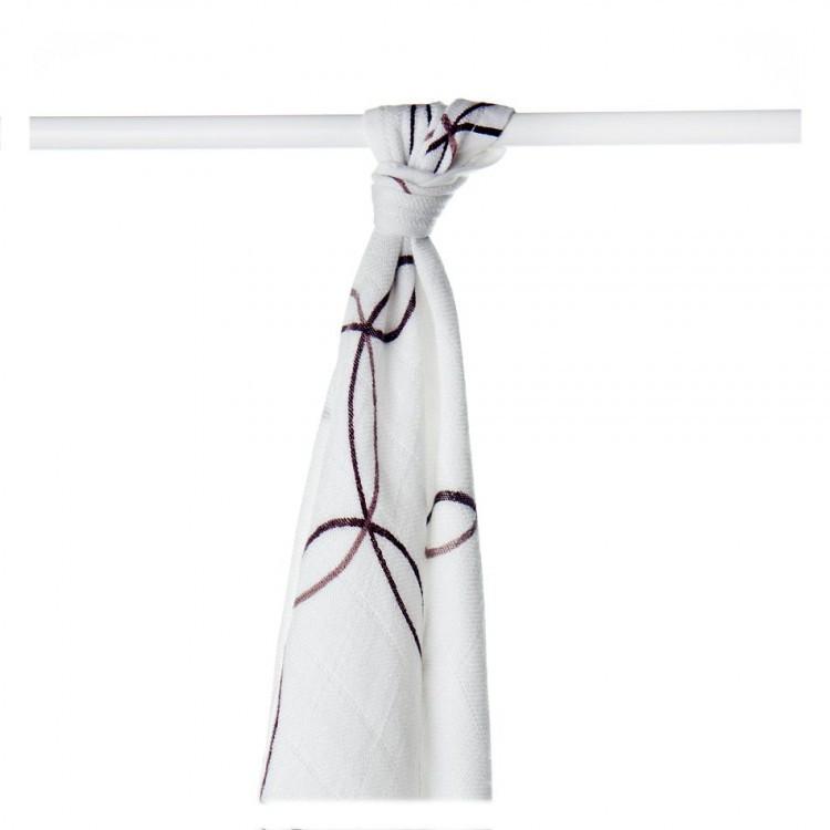 Пеленки бамбуковые  муслиновые XKKO 90x100 двухслойная 1 шт. Белые с коричневыми узорами